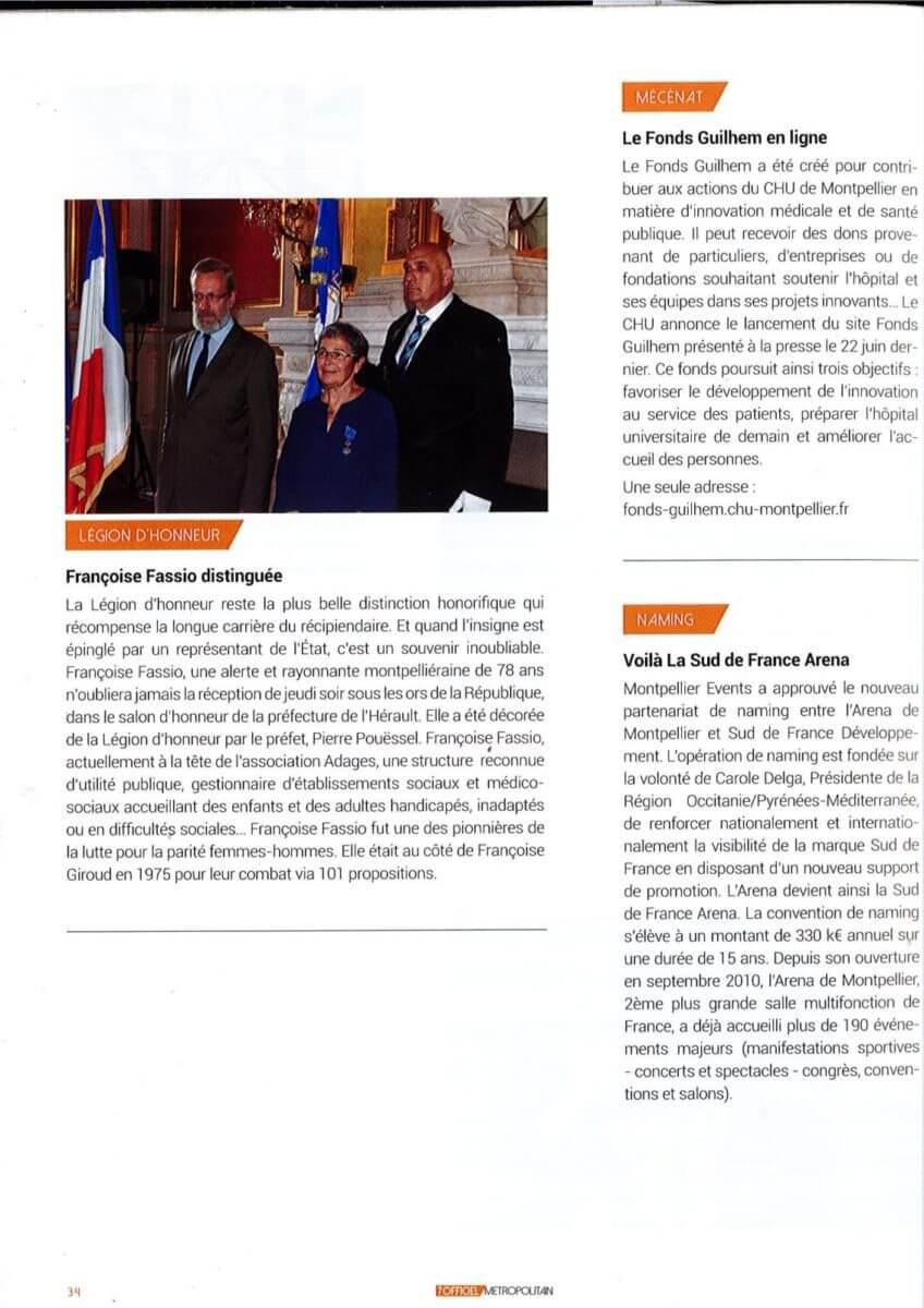 7OFFICEL METROPOLITAIN | Mme Françoise FASSIO distinguée 1