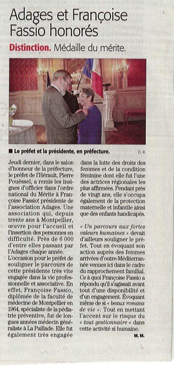 MIDI LIBRE | l'Adages et Mme Françoise Fassio honorés 1