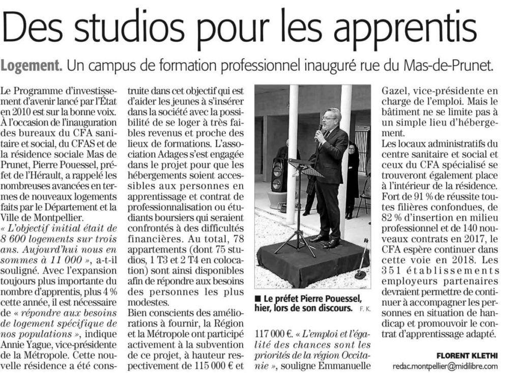 Midi Libre | Des studios pour les apprentis. 1